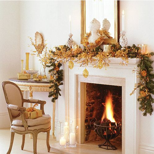 Classic style Christmas mantle decorated in gold