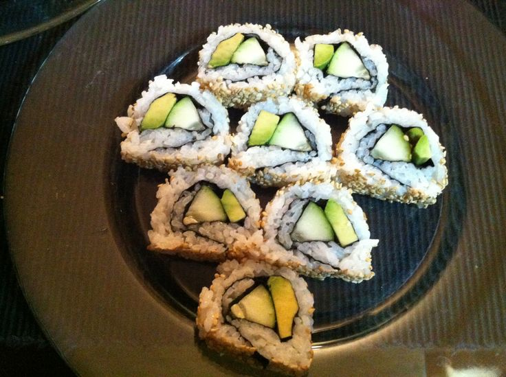 Homemade sushi- avocado and cucumber | Food & Drink that I love | Pin ...