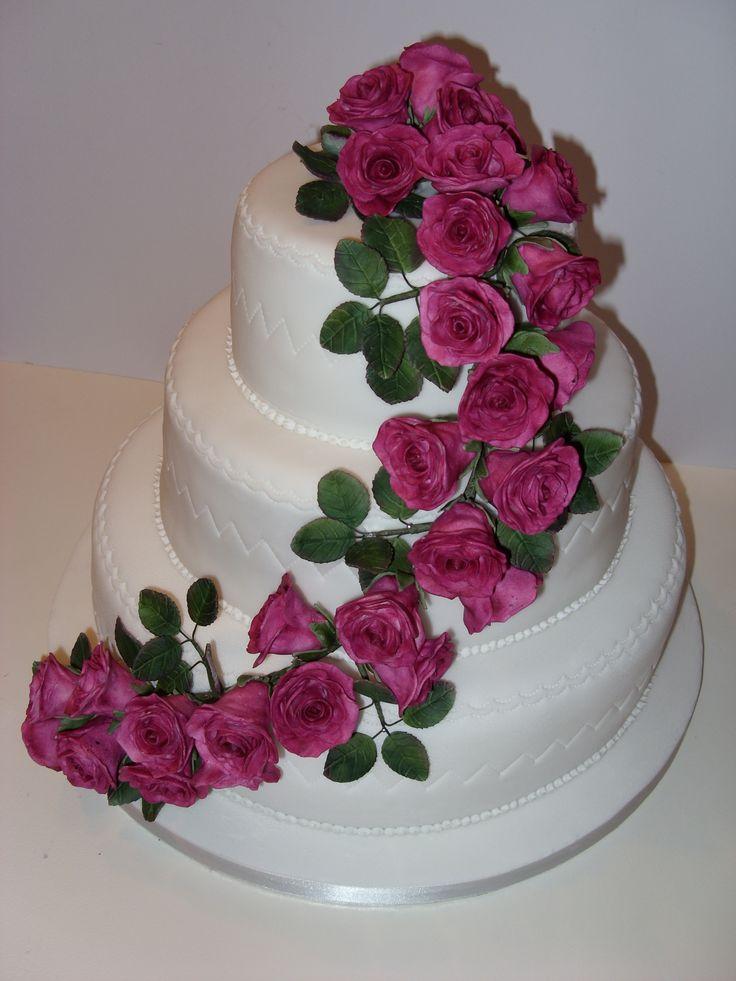Cake With Roses Pinterest : Pink Rose Wedding Cake Cakes Pinterest