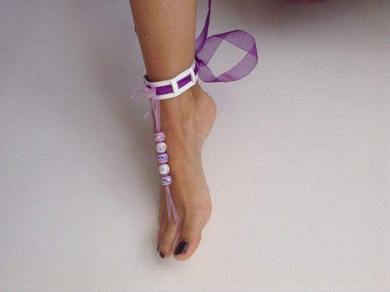 Barefoot Sandals leather Bikini Women Beach shoes by SibelDesign, $14