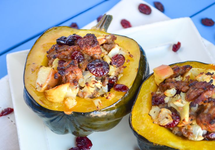 Roasted Acorn Squash with Paleo Sausage Cranberry Stuffing