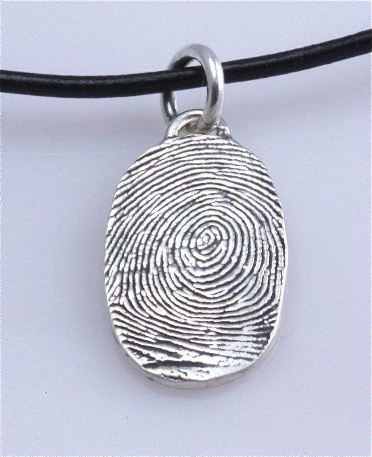 sterling silver custom thumbprint necklace or fingerprint