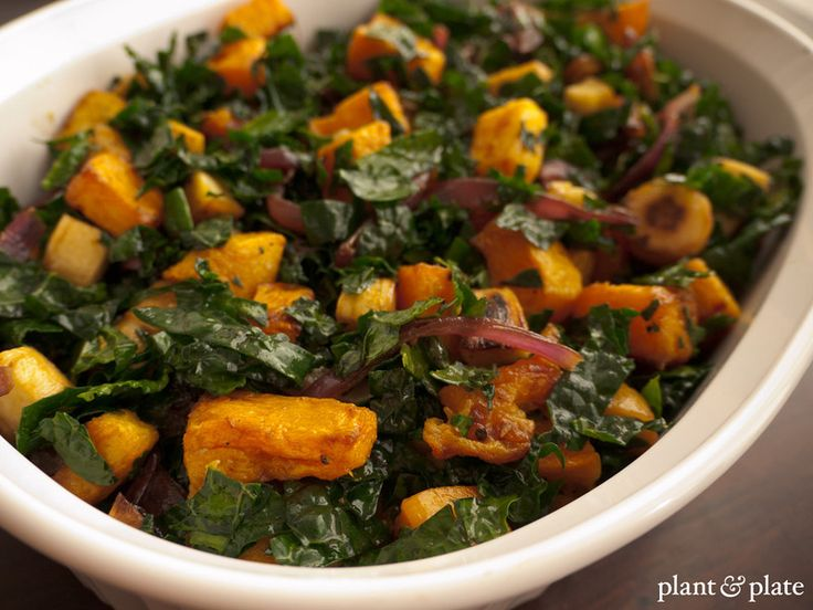 Warm kale salad with roasted butternut squash, parsnips, and ...