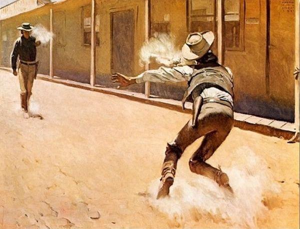 Western shootout art