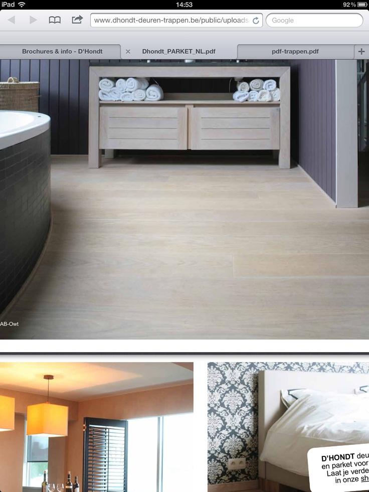 Badkamer - parket/laminaat  Floors  Pinterest