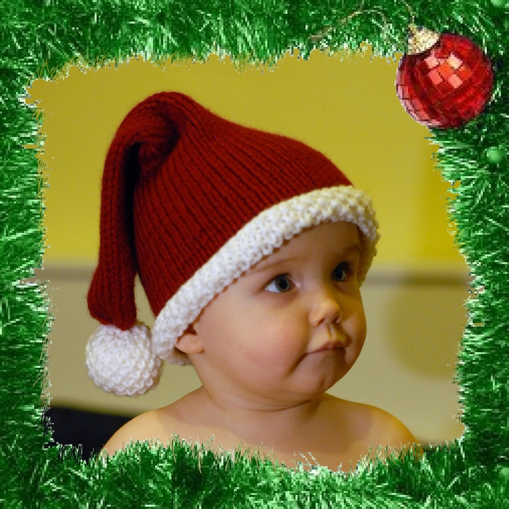 Knitting Pattern For Infant Santa Hat : Pinterest