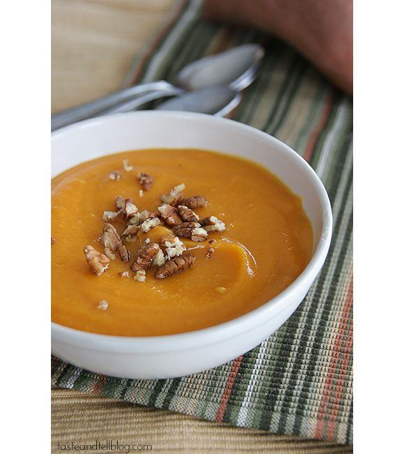 Creamy Sweet Potato Soup - Sub out chicken broth with vegetable broth ...