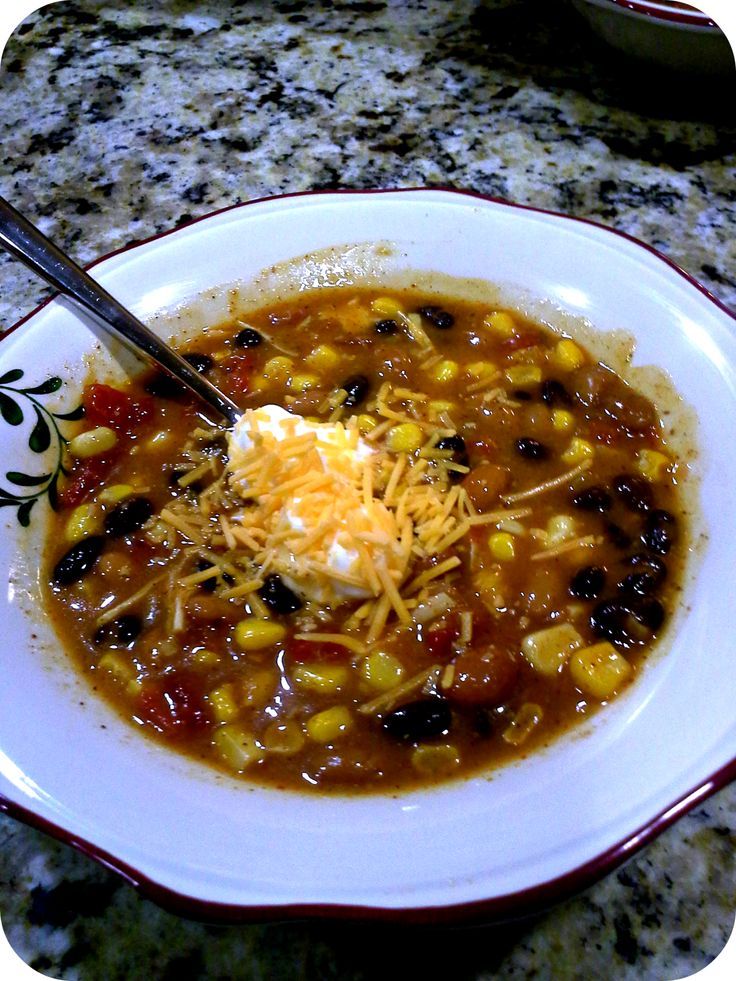 Can Taco Soup. Would probably be good with ground beef too.
