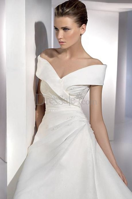 Grand off the shoulder wedding dress with pleats and for Off shoulder wedding dress