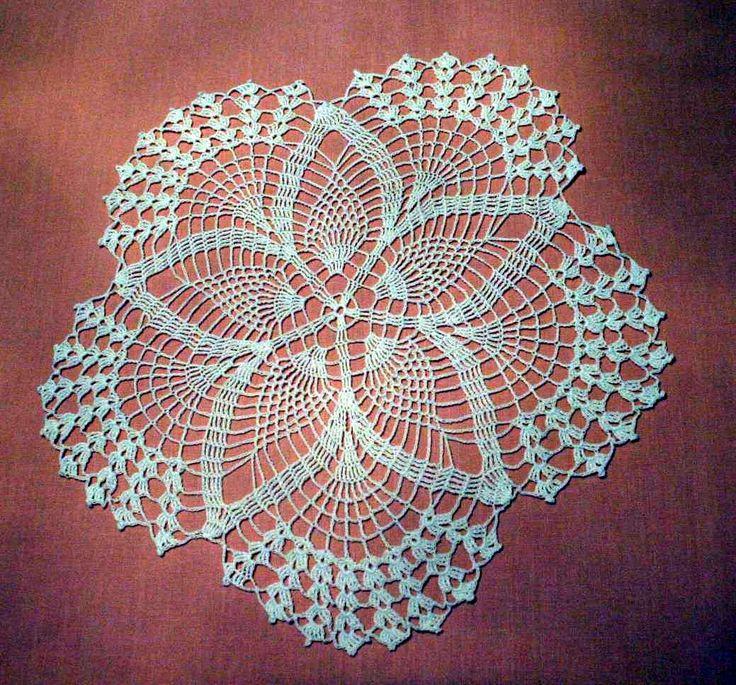 Free Crochet Star Doily Pattern : New White 15 inch Star pattern Crochet Doily-Centerpiece ...