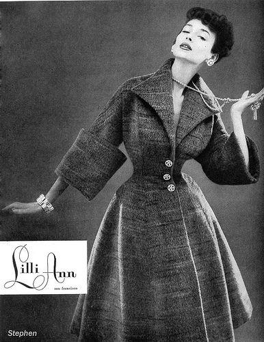 Dorian Leigh in a Lilli Ann ad, 1954 princess cut coat photo print ad model