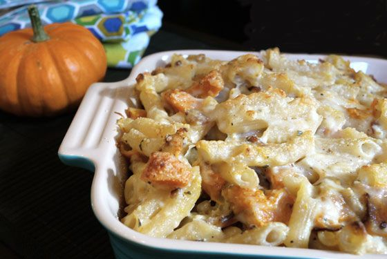 OneHungryMama Baked Pasta with Pumpkin and Bacon
