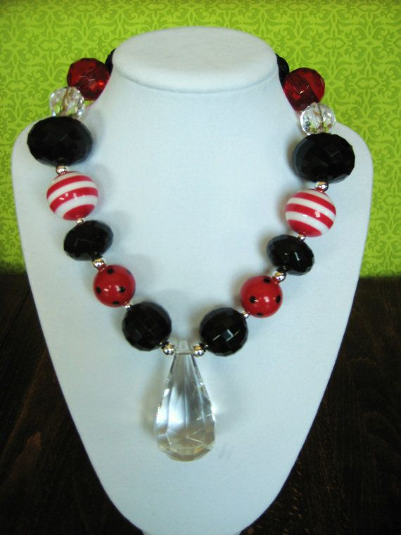 Cutie Bug Girls Necklace - Red, Black. Go with a ladybug outfit!