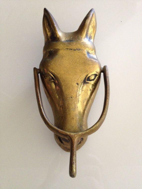 Rare antique solid brass horse door knocker - Horse door knocker ...