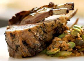 Roasted Rack of Lamb -- Marinated with rosemary and thyme.