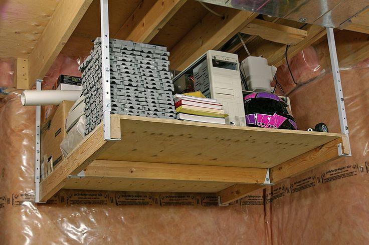 Pin by organized garage on overhead storage pinterest for Diy garage storage loft