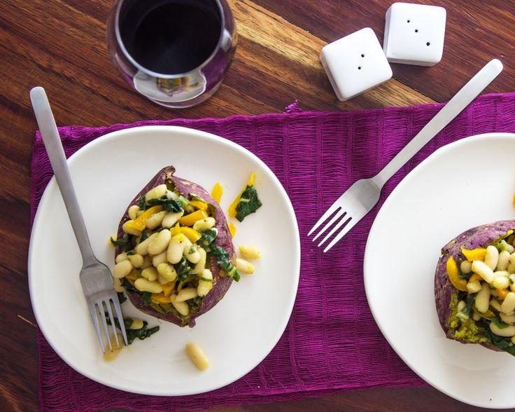 White Bean and Kale Stuffed Sweet Potatoes