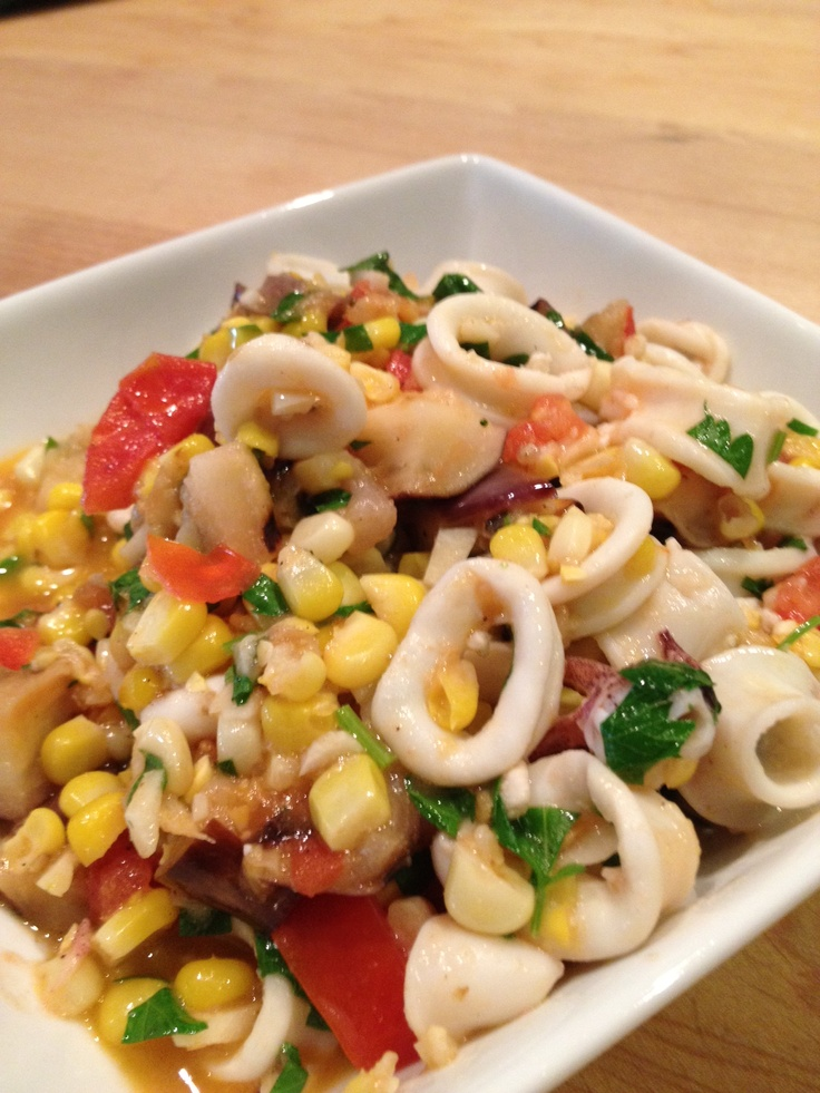squid saute. (Grilled corn and eggplant with squid, tomato, garlic ...
