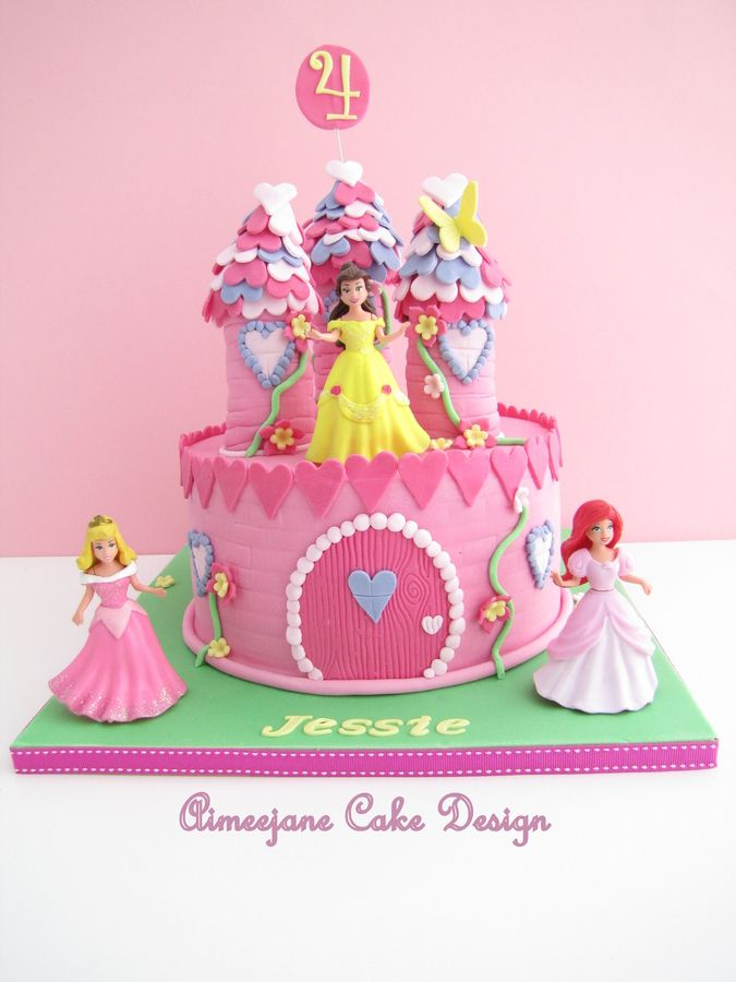 A Princess Castle Birthday Cake made for a lil girl named Jessie