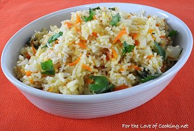 This Carrot-Ginger Rice looks good. Being vegetarian I would vary the ...