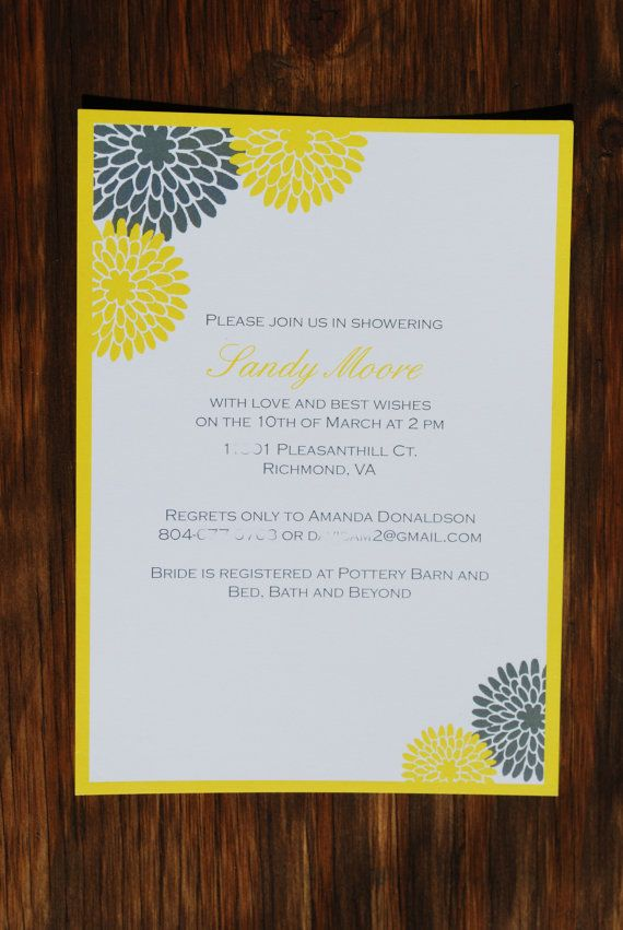 Grey & Yellow Bridal Shower Invitation by ruffledskirtdesigns, $1.50