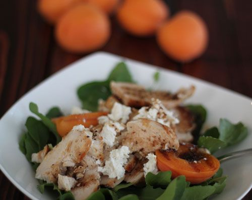 Arugula Salad with Chicken, Apricots, and Honeyed Goat Cheese