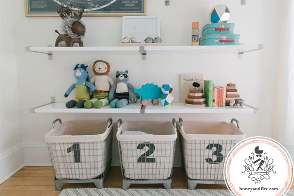 Beautifully-styled shelves and organization in the #nursery