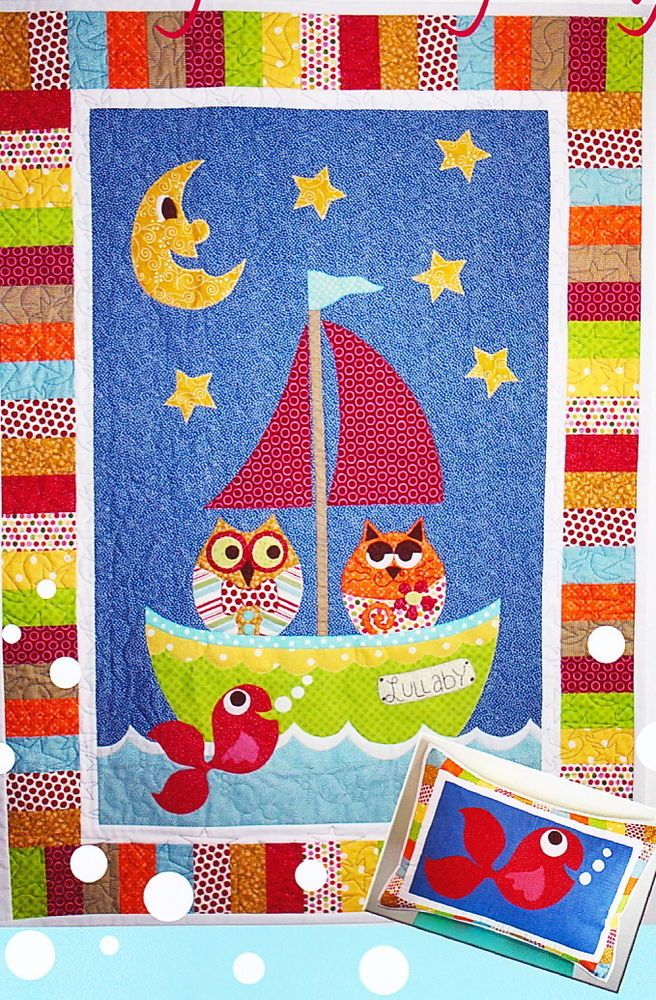 Lullaby in the Night Sky - sweet applique & pieced baby quilt PATTERN