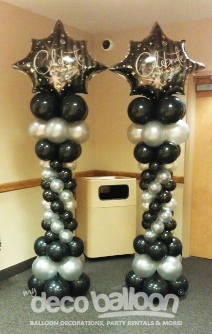 Entrance column ideas balloon decor pinterest for Balloon column decoration