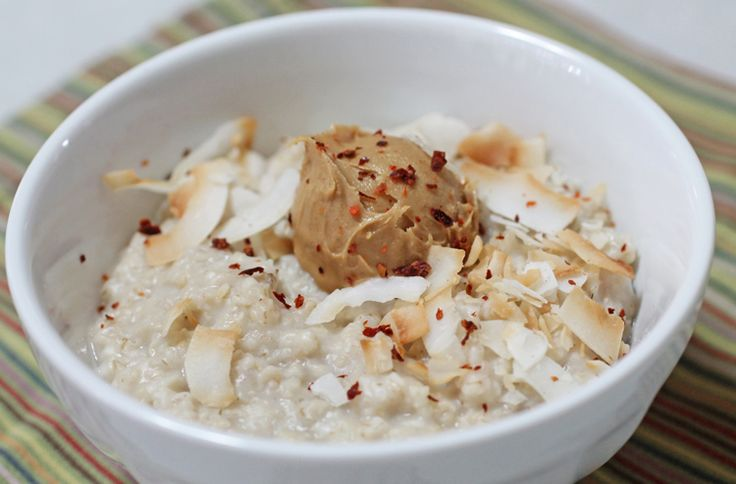 Thai-Me-Up Oats: All the flavors you love from Thai food come together for a sweet and spicy breakfast- sprinkle red pepper flakes over a dollop of peanut butter and a healthy helping of shredded coconut. #BRMOatmeal