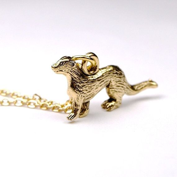 Small Ferret Necklace Weasel gold plated by chrysdesignsjewelry, $15