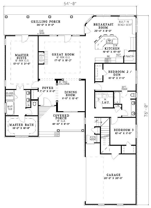 Split Bedroom Plan Dream House Floor Plans Pinterest