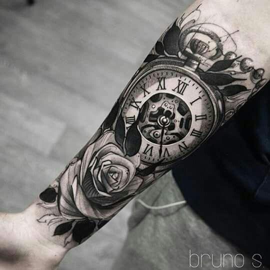 Тату на предплечье мужские часы