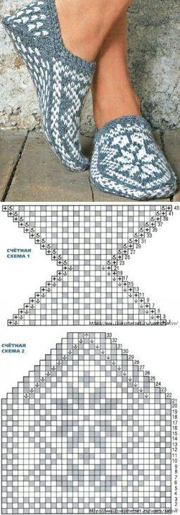 Схема вязание следков спицами с описанием для начинающих