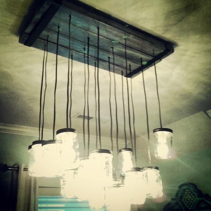 mason jar chandelier pottery barn for pinterest. Black Bedroom Furniture Sets. Home Design Ideas