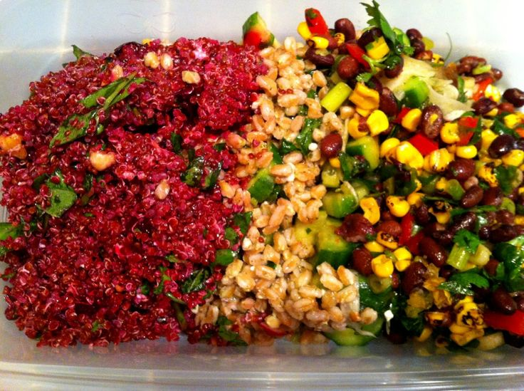 Delicious dinner tonight: quinoa with red beets, Farro with sliced ...