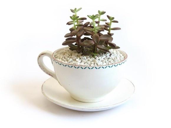 """Vaso / Cachepô - Modelo """"Xícara Sucrilhos"""",  de cerâmica com pintura provençal e estampa artesanal. Observação: a planta não acompanha o produto. R$30,00"""