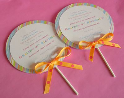 Lollipop invitations.