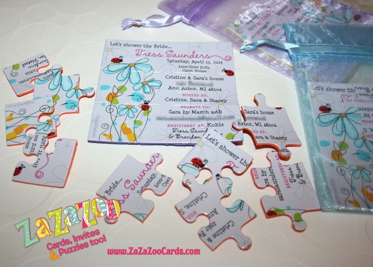 Floral bridal shower invitations - in the form of a puzzle! Cute