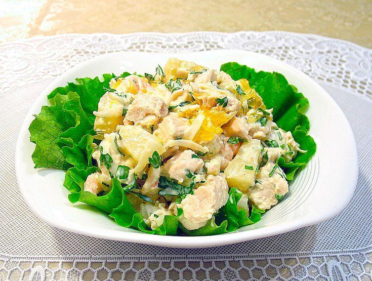 Салат с курицей орехами и ананасом рецепт пошагово