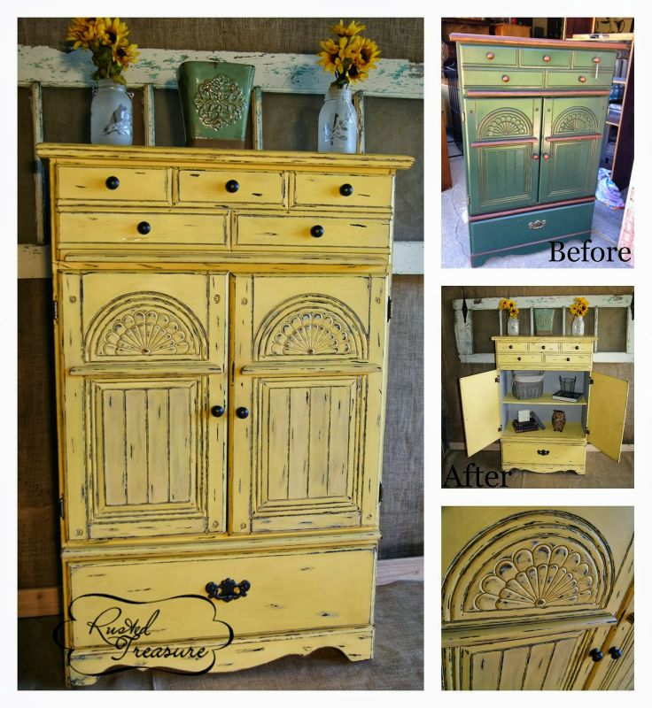 Yellow Armoire Before and After