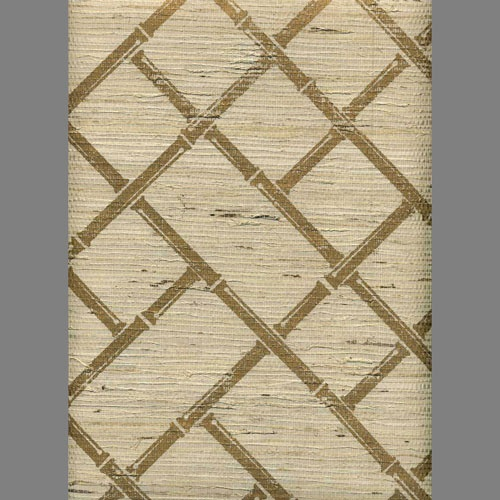 Ivory grasscloth with gold bamboo lattice screen print wallpaper TROP ...