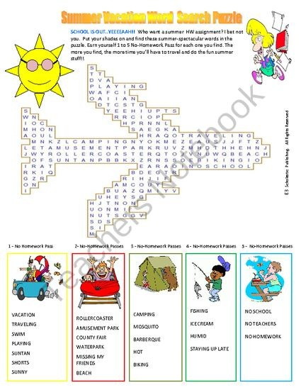 Fun summer vacation word search puzzle for fun in all classes this