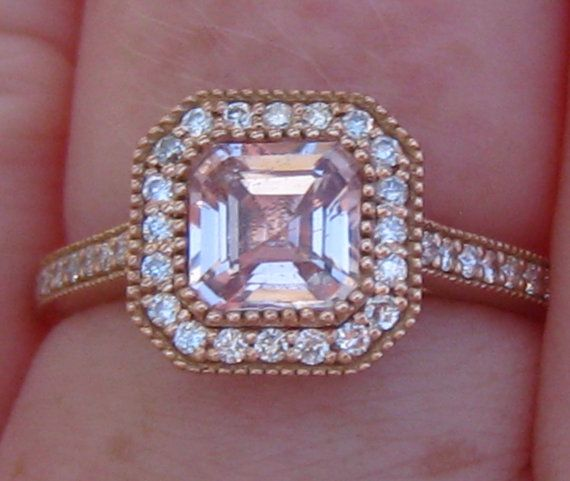 Untreated Asscher Peach Pink Sapphire in Rose by JuliaBJewelry