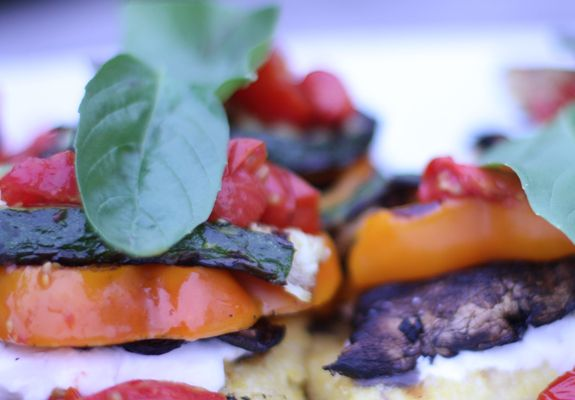 Grilled Polenta Veggie Stacks w/ Balsamic Cherry Tomatoes // The Spicy ...