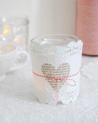 photophore avec napperons en papier et ficelle baker twine