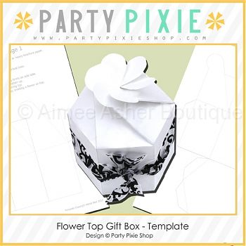 Flower Top Gift Box - Template | Party Pixie | Pinterest