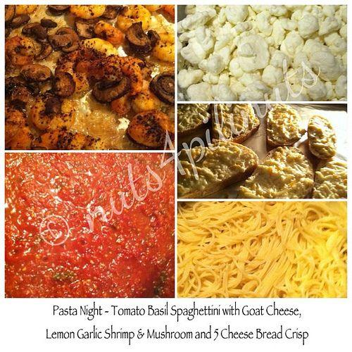 Tomato Basil Spaghettini with Goat Cheese, Lemon Pepper Garlic Shrimp ...
