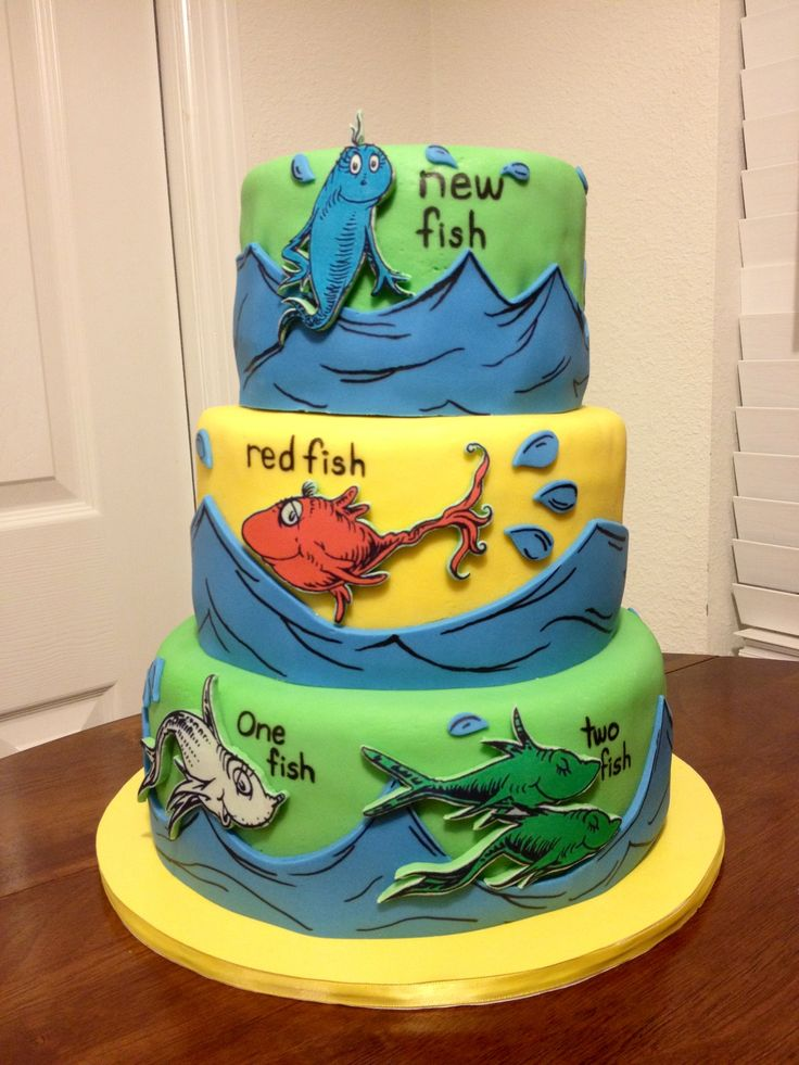 Dr. Seuss themed baby shower cake, yellow cake with strawberry filling ...
