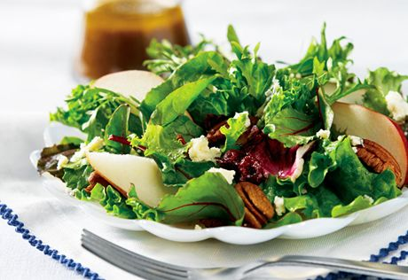 ... mixed baby greens, fresh and dried fruits, toasted pecans and crumbled